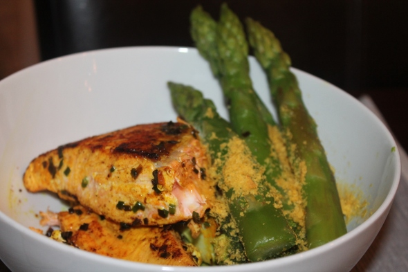 Roasted Salmon with steamed asparagus