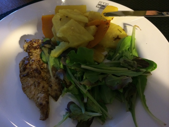 Steamed rutabagas, Squash, Salad Greens, Chicken Breast