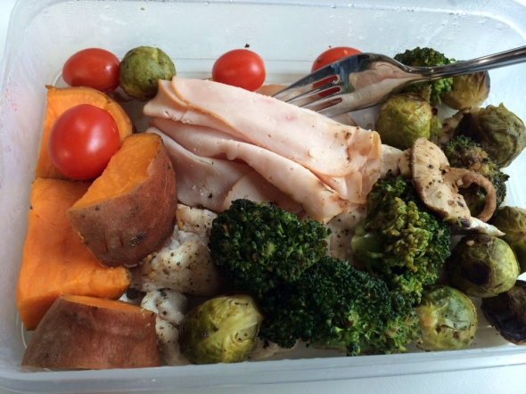 1/2 Sweet Potato, roasted brussels sprouts, broccoli, shiitake, baked chicken and some leftover deli chicken
