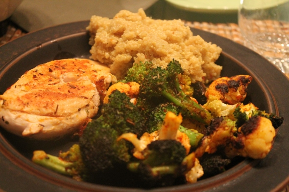 My food - roasted veggies and chickenbreast, Quinoa