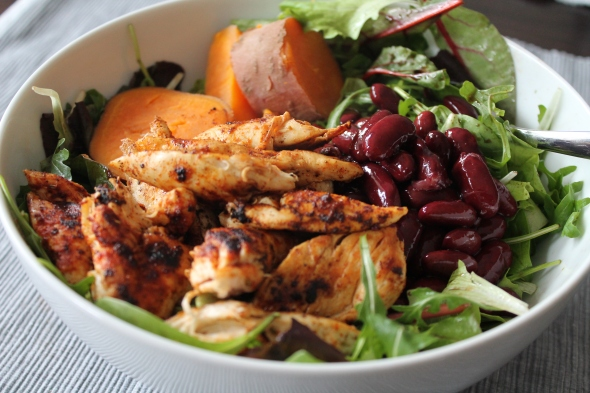Chicken, Salad, Beans, Sweet Potato