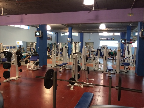 The gym I found in the neighbour village! 10 Euros for the whole week. Good stuff. Let's get Lifting.