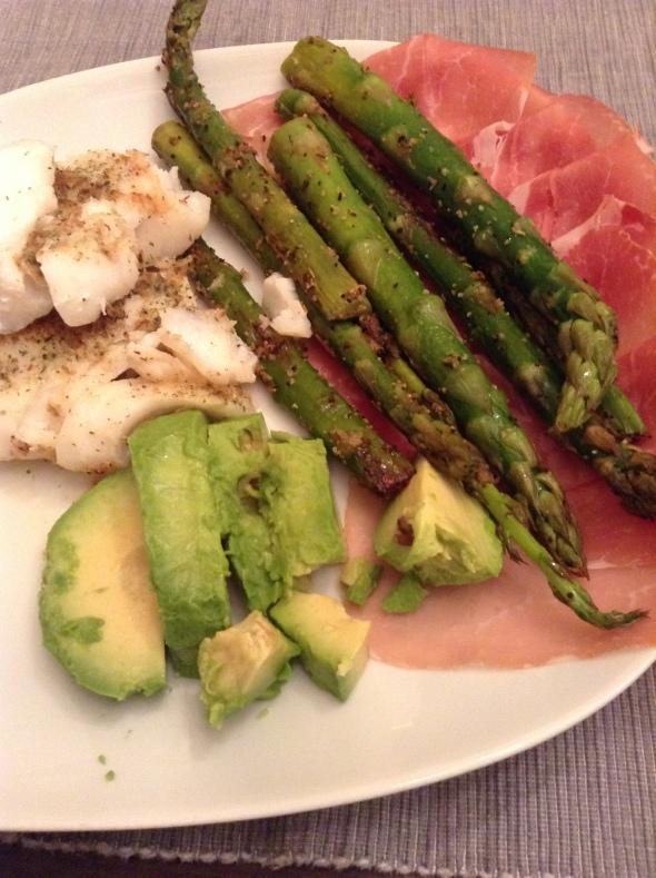 Codfish, roasted asparagus. avocado & smoked ham