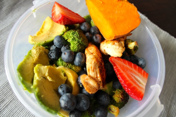 Roasted Chicken Breast, Broccoli, Sweet Potato, Blueberries