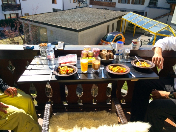 Breakfast on the sunny terrace