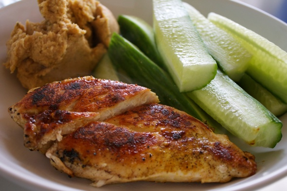 Chicken Breast, Cucumber, Homemade Hummus