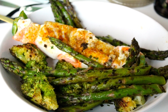 Codfish/Salmon Skewer with roasted asparagus and broccoli