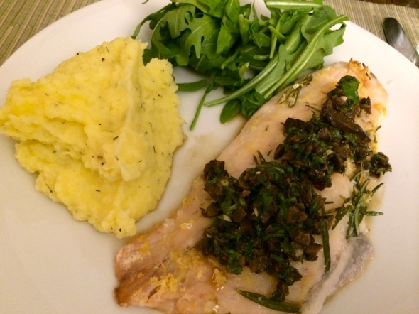 Red snapper in lemon/rosemary paste, mashed potatoes and arugula