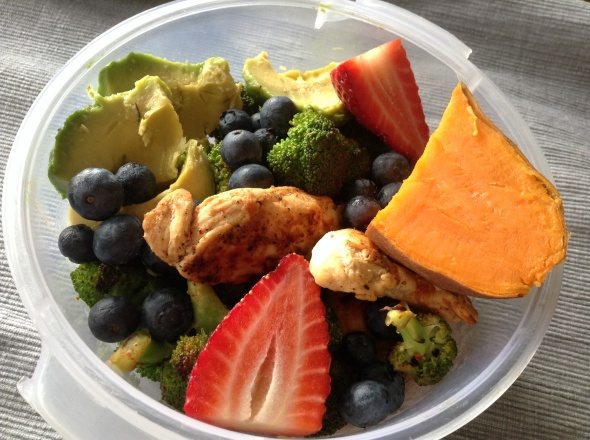 Baked Chicken with Broccoli, Avocado, Sweet Potato and Berries
