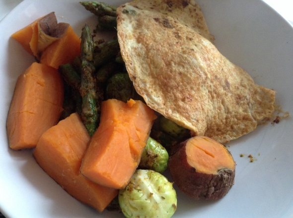 Omelette with a side of Sweet Potato, Brussel Sprouts, Asparagus