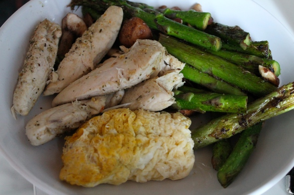 Baked Chicken, egg/eggwhite thingy, asparagus