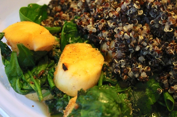 Seafood (here scallops) with spinach and quinoa