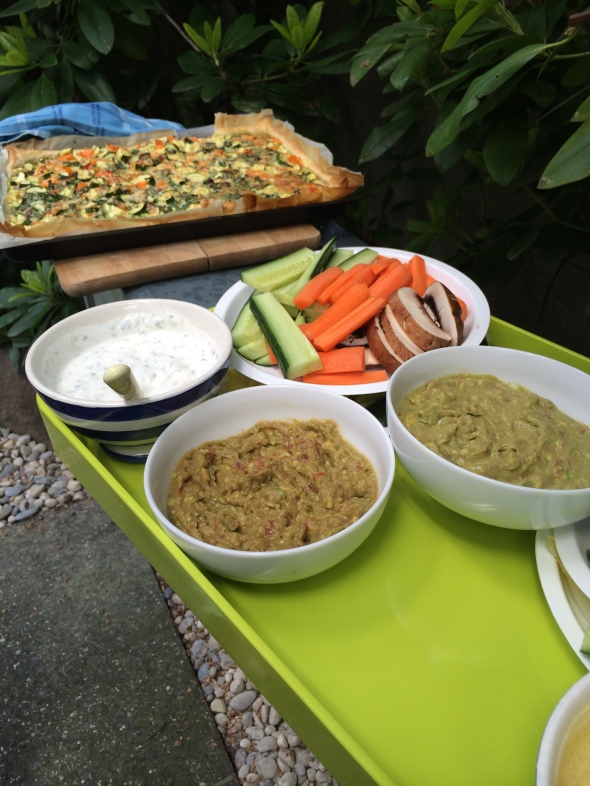 Laura's Guacamole, Quark Dips, Veggies to Dip, Veggie-Cheese Pie