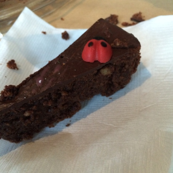 Momma's Chocolate Cake and lucky bugs. To die for.