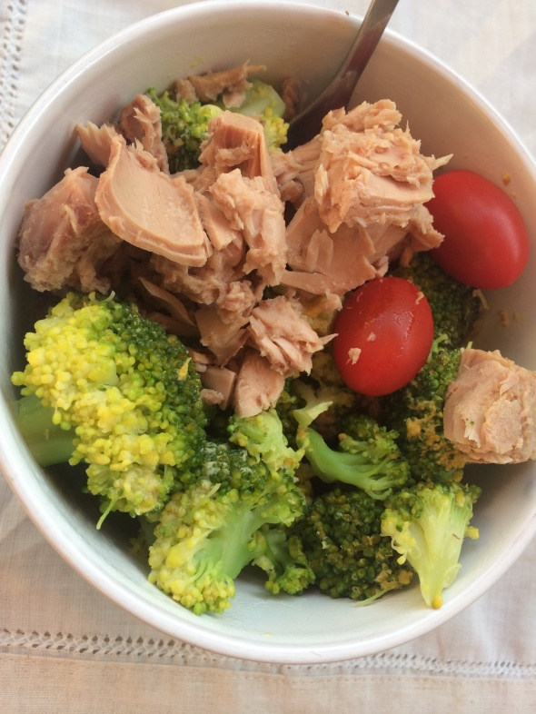 Bowl of Tuna, Broccoli, Cherry Tomatoes