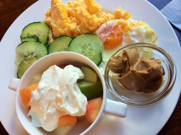 Scrambled eggs, fried egg, cucumber, peanut butter, Fruit with no fat quark