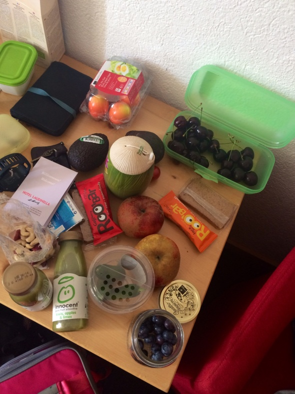 Coconut Water, green Smoothies, Nuts, Avocado, Roobars, Apples, Cherries, Cucumbers, Hardboiled eggs, blueberries