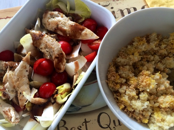 More Endive Salad with Chicken, Baby Tomatoes and Quinoa/NutritionalYeast/TVP Mix on the side