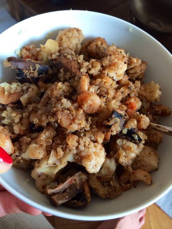 Messy Stir Fry: Quinoa, Shrimp, Mushrooms, Cauliflower