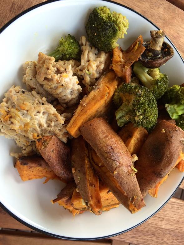 Ground Chicken Patties, steamed veggies, Sweet Potato Wedges