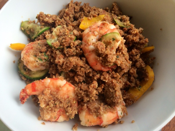 More #strangebutgoodness: Grilled shrimp crumbled in ezekiel cereal and veggies - it was SO good!!