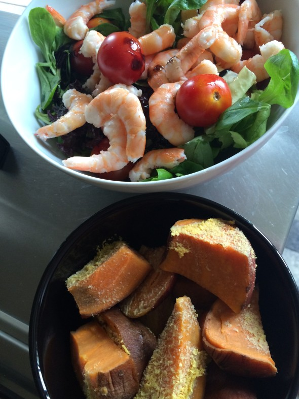 Salad with shrimp, Cherry Tomatoes and a huge bowl of steamed Sweet Potatoes