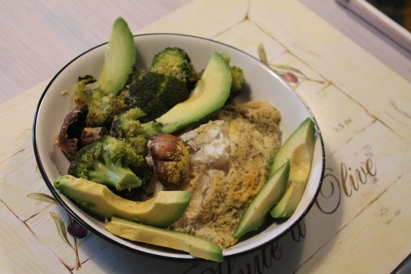 Baked Codfish, Veggies, Avocado