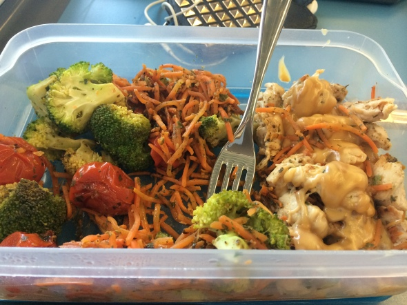 Peanut Butter Chicken with roasted veggies on the train (inclusive ...