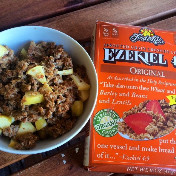 Baked Ezekiel Cereal with apples and cinnamon