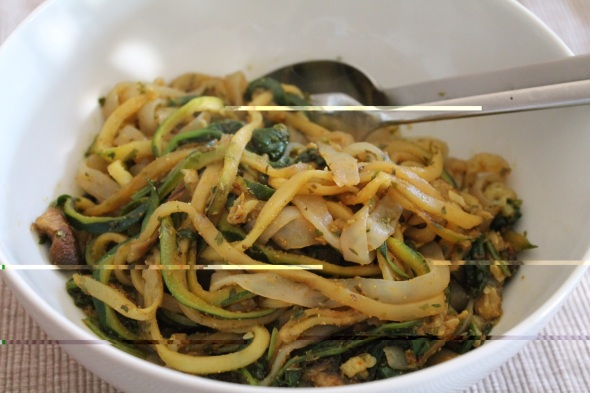 Shirataki/Zucchini Noodle Bowls with baked fish