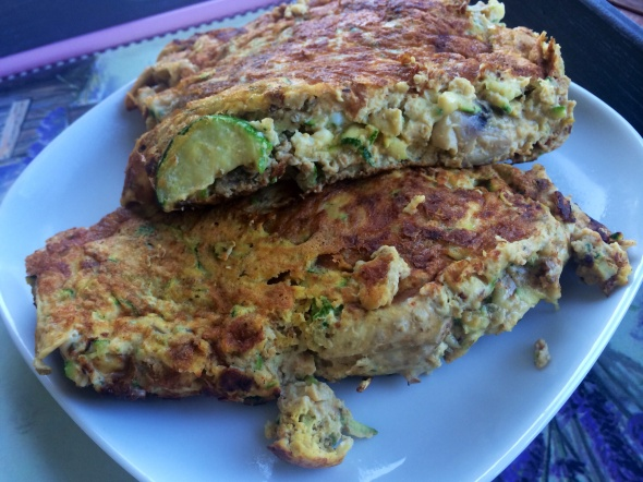 Omelette with Zucchini and Mushrooms