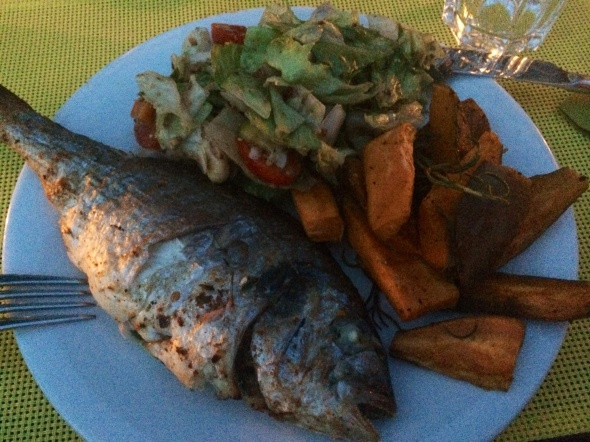 Grilled Dorade with Sweet Potato Fries and Salad