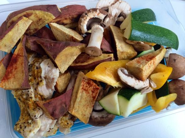 Sweet Potato Wedges, Mushrooms. Zucchini, Chicken