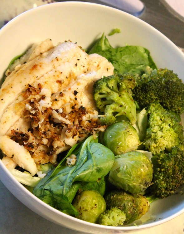 Codfish, Salad, steamed broccoli&brussels sprouts