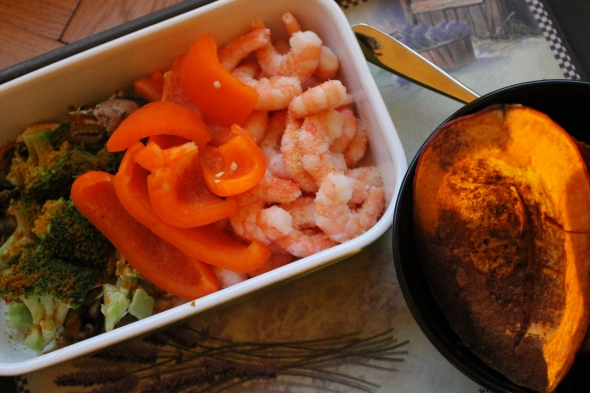 Steamed veggies / Shrimp / Baked Kabocha